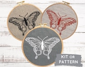 Embroidery Kit, Butterfly Embroidery, Hand Embroidery Kit, DIY Embroidery Kit, Modern Embroidery, Insect Embroidery, I Heart Stitch Art