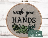 Wash Your Hands Embroidery Kit, Beginner Embroidery Kit, Wash Your Hands, Make at Home DIY Embroidery Kit, DIY Craft Kit, Funny Embroidery