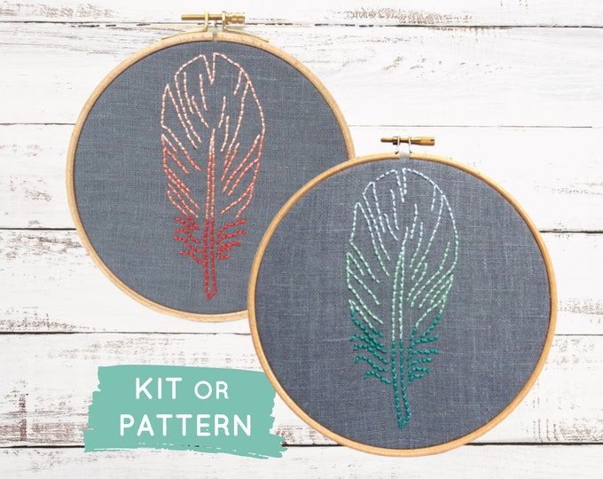 Beginner embroidery kit, DIY feather embroidery, ombré feather embroidery pattern, modern embroidery hoop art, DIY kids room decor