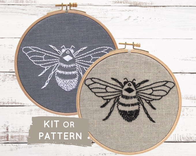 Beginner hand embroidery kit, easy hand embroidery kit, modern embroidery kit, bee embroidery kit, bee embroidery pattern, easy embroidery