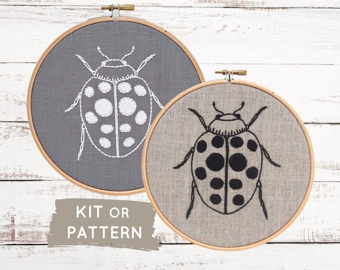 Easy embroidery kit, ladybug embroidery pattern, modern embroidery hoop art, ladybird embroidery, DIY at home craft kit, Gardener gift,