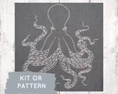 Octopus embroidery pattern, cephalopod embroidery pattern, modern embroidery, ocean theme, DIY octopus hoop art, I Heart Stitch Art, octopus