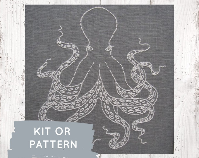 Octopus embroidery pattern, cephalopod embroidery pattern, modern embroidery, ocean theme, DIY octopus hoop art, I Heart Stitch Art, octopus