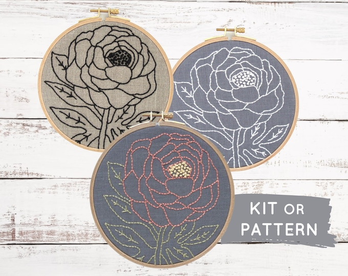 Beginner Embroidery Kit, Make At Home, At Home Craft Kit, Easy Hand Embroidery Kit, Floral Embroidery, DIY Embroidery Kit, Modern Embroidery