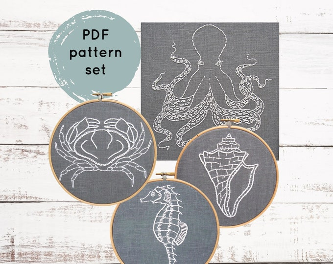 Sea LIfe Embroidery Patterns, DIY hand embroidery, ocean creature embroidery pattern, octopus embroidery pattern, crab embroidery pattern