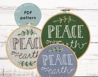 Christmas embroidery pattern, Peace On Earth pattern, DIY holiday embroidery, Christmas hoop art, DIY Christmas decor, I Heart Stitch Art