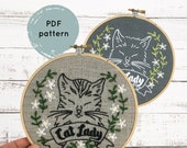 Cat Lady hand embroidery pattern, hand embroidery pattern PDF, PDF download embroidery pattern, cat embroidery pattern download, cat lady