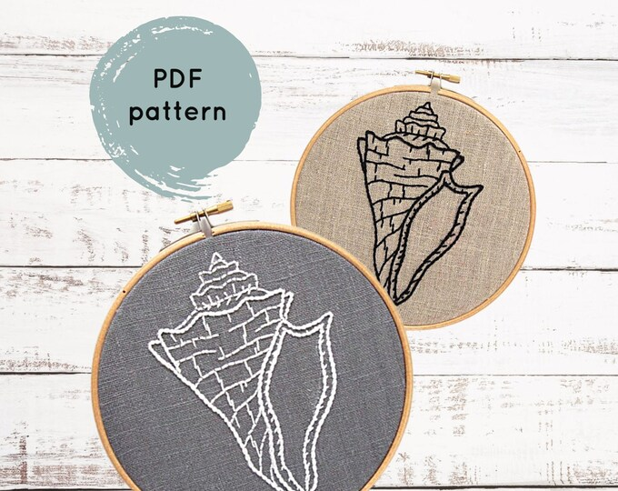 Shell Embroidery Pattern - Digital Download