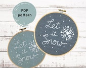 Embroidery Pattern, Let It Snow, snowflake embroidery pattern, winter embroidery pattern, DIY Christmas embroidery, I Heart Stitch Art