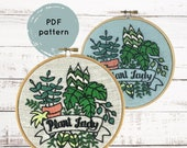 Hand Embroidery Pattern PDF, Plant Lady Embroidery Pattern, Houseplant Embroidery Pattern, Gift for Plant Mama, Plant Lover, Hand Embroidery