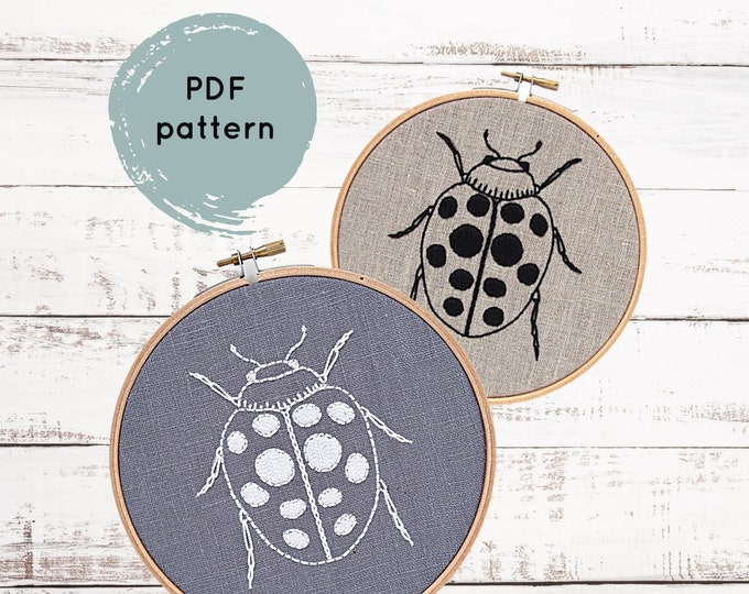 Ladybug Embroidery Pattern - Digital Download
