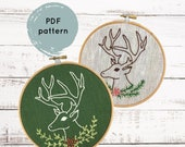Christmas Hand Embroidery Pattern, Stag Embroidery Pattern, Deer Embroidery Pattern, PDF Cross Stitch Pattern, Embroidery Pattern PDF