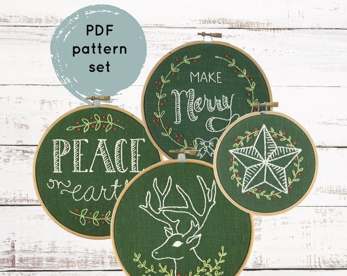 Christmas Embroidery Pattern Set - Digital Download