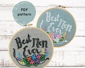 Mother's Day Embroidery pattern, Best Mom Ever, DIY Mother's Day gift, hand embroidery pattern, I Heart Stitch Art, iheartstitchart