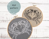 PDF embroidery pattern, crab embroidery pattern, hand embroidery pattern, DIY needlecraft, crab needlecraft pattern, DIY crab pattern