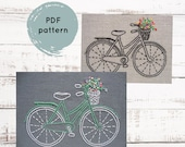 Hand embroidery pattern, bicycle hand embroidery pattern, embroidery pattern PDF, bike embroidery pattern, easy embroidery pattern download