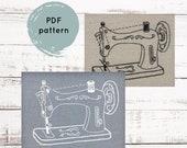 Embroidery Pattern, Vintage Sewing Machine, craft room decor, sewing room decor, PDF embroidery pattern, I Heart Stitch Art, iheartstitchart