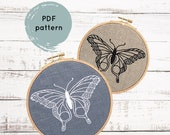 Butterfly embroidery pattern, modern hand embroidery, embroidery hoop art download, I Heart Stitch Art, DIY butterfly embroidery tutorial