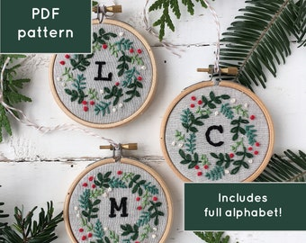 Embroidery Christmas ornament pattern, monogram ornament, Embroidery pattern PDF, customize initial Christmas ornament, personalize monogram