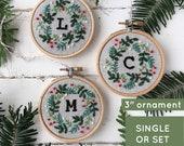 Christmas ornament embroidery kit, monogram embroidery ornament kit, customized DIY keepsake Christmas ornament, make at home craft kit