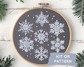 Snowflake embroidery kit, DIY craft kit, snowflake embroidery pattern, easy Christmas embroidery kit, make at home craft, winter embroidery