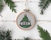 Christmas embroidery kit, JOY ornament Embroidery Kit, DIY Christmas Keepsake Ornament, Beginner Embroidery home craft Kit, Ornament Gift