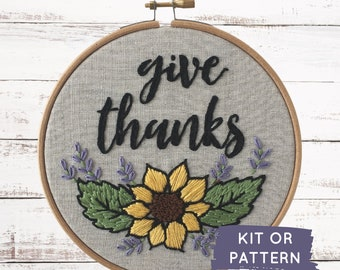 Embroidery kit, Give Thanks, Make at home craft kit, Thanksgiving embroidery pattern, easy DIY embroidery kit, easy beginner embroidery kit