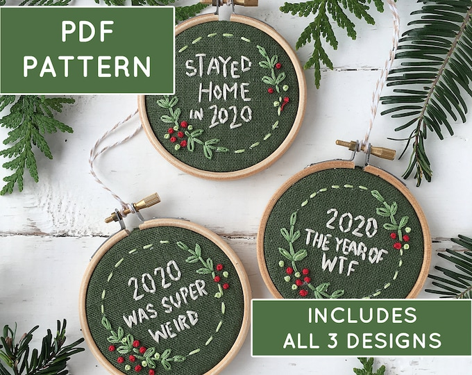 2020 Christmas ornament pattern, Embroidery ornament DIY, Commemorate 2020 ornament, COVID Christmas ornament, Stayed Home in 2020 ornament