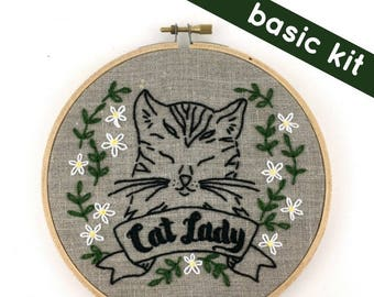 Cat Lady Embroidery Pattern (basic)