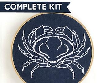 Crab Embroidery Kit: Indigo!