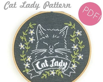 Cat Lady Embroidery Pattern