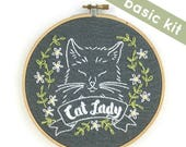 Hand Embroidery Pattern, Cat Lady embroidery pattern, cat embroidery kit, DIY embroidery kit, gift for cat lover, embroidery pattern hand