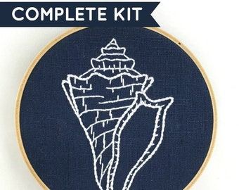 Seashell Embroidery Kit: Indigo!