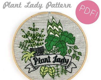 Plant Lady Embroidery Pattern