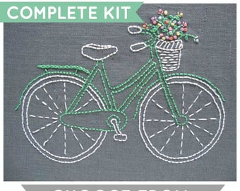 Embroidery Kit, Beginner Modern Embroidery Kit, DIY Embroidery Kit, DIY Embroidery, Hand Embroidery Kit, Bicycle Embroidery Pattern, Bicycle