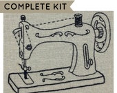 Embroidery kit, vintage sewing machine, embroidery pattern, gift for sewist, DIY hoop art, modern embroidery, craft decor, iheartstitchart