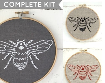DIY embroidery KIT, bumblebee embroidery pattern, modern hand embroidery pattern, beginner embroidery kit, embroidery kit, easy embroidery