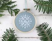Embroidery Kit, Christmas Ornament Kit Embroidery, Snowflake Embroidery Kit, Cross Stitch Embroidery Kit, Easy Embroidery Kit, Holiday DIY
