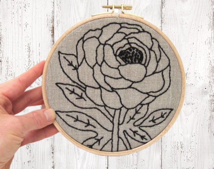 Peony embroidery kit, DIY hoop art kit, beginner embroidery, modern hand embroidery kit, peony hand embroidery pattern, gift for her
