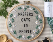 Prefers Cats To People: Funny Embroidery Kit