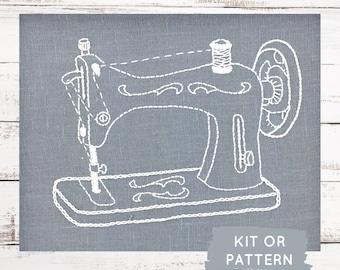 Embroidery kit, DIY Embroidery Kit, Hand Embroidery Kit, Vintage Sewing Machine Embroidery Pattern, DIY Embroidery, Hoop Art KIt, Sewist