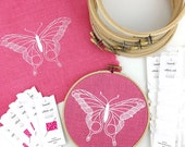 Embroidery Kit, girly embroidery, butterfly embroidery kit, girls room decor, pink embroidery kit, easy embroidery pattern, limited edition