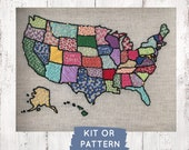 USA Map Embroidery Kit, United States Map, America Map, Embroidery Sampler Kit, Make at Home DIY Embroidery Kit, DIY Craft Kit, rainbow map