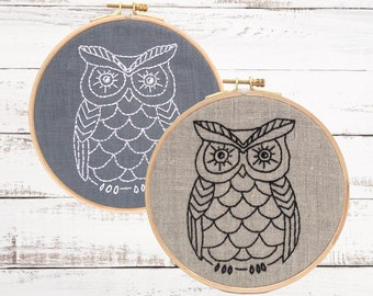 Easy embroidery kit, Beginner hand embroidery kit, DIY Embroidery Pattern, Modern Owl Embroidery Kit, DIY Embroidery Kit