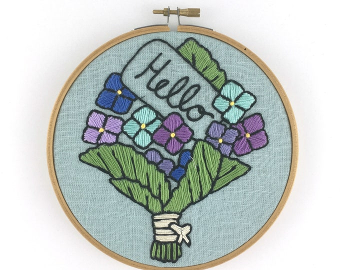 Floral Embroidery Kit, Flowers embroidery pattern, Hello embroidery kit, floral embroidery pattern, bouquet of flowers x stitch, DIY gift
