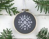 DIY Christmas Ornament, Snowflake Embroidery Kit, Snowflake Ornament, XStitch ornament Kit, Beginner Embroidery Kit, Ornament Gift