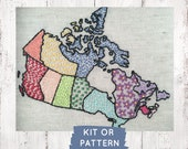 Canada Embroidery Kit, Canadian Map Beginner Embroidery Kit, O Canada, Embroidery Sampler, Make at Home DIY Embroidery Kit, DIY Craft Kit