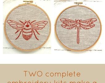 Embroidery Kit Pair {sand + chestnut}