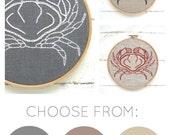 DIY embroidery kit, crab embroidery, modern hand embroidery pattern, DIY embroidery hoop art, crab cross stitch, DIY needlecraft kit
