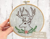 Stag Embroidery Kit, Christmas Embroidery Kit, Antlers Embroidery Pattern, Deer Embroidery, DIY Christmas, Winter Stag, Farmhouse Christmas